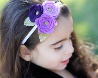 Purple- 3 flower headband