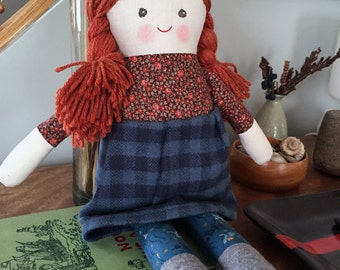"""Georgia is a 17"""" doll, handmade with all natural materials. Waldorf inspired dolls for creative play."""