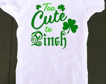 st. patricks day onesie - baby onesie - st patricks day baby - too cute to pinch