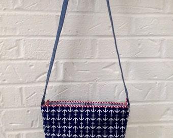 Nautical Purse / Navy Shoulder Bag / Nautical Handbag / Anchor print purse / Navy, red, and white purse / Anchor bag / Nautical bag