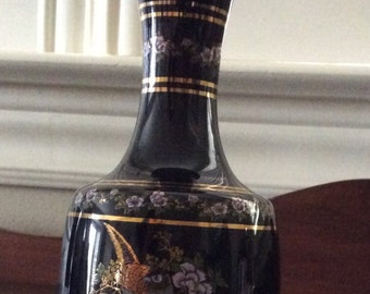 Hand made Neofitoli black miniature Greek Vase with with 24 Kt. gold trim, made in Greece Numbered B13