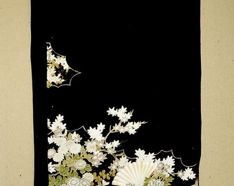 vintage Japanese kimono silk panel, black with floral scene