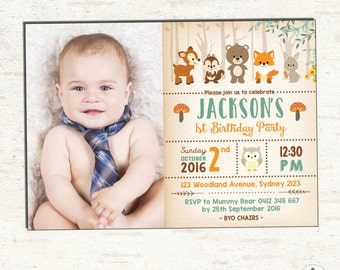 WOODLAND Birthday Invitation. First Birthday Party Invite. Forest Animal DIGITAL Invite. Rustic Birthday. Neutral Baby Shower. Fox. WOOD1