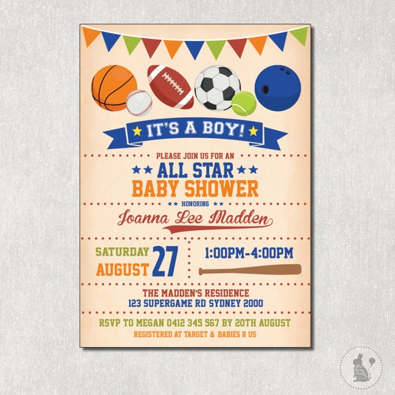 sports baby shower invitation. vintage all star digital invite, Baby shower invitations