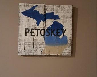 Petoskey, MI rustic pallet wood sign