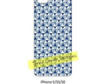 iPhone 5 printable Celtic three-part swirl case design in blue; DIY print at home iPhone accessories for 5, 5S, or SE