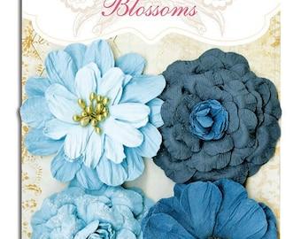 Bo Bunny Denim Blue Zinnia Blossoms - BoBunny Blossoms - Blue Blossoms - Scrapbook Blossoms - Blue Blossom Embellishment 4-079