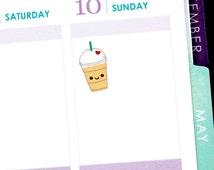 Happy Frozen Coffee Drink Tracker Reminder Cute Kawaii Planner Stickers Erin Condren Midori Calendar Scrapbook Drink Funny Cute Starbucks