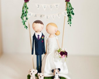 Rustic Wedding Cake Topper, Boho Cake Topper, Boho Wedding, Wooden Topper,Wooden Peg Doll,Wedding Gift,Personalized,Boho wedding cake topper