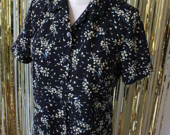 1990s Floral Button-down Blouse