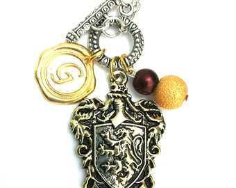 "House Gryffindor Harry Potter Inspired Beaded Charm 21"" Chain Necklace Silver Tone"