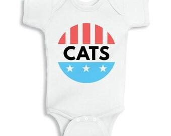 Vote Cats Baby Onesie, Cat Onesie, Voting Onesie, Election Baby Onesie, 2016 Election, Hilary Clinton, Donald Trump