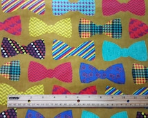 Super Cute Bowtie Flannel Fabric, By the Yard, FQ, Fat Quarters, Bow Tie Fabric, Flannel Bowties, Bowtie Pajama Fabric