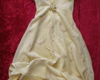 One of a Kind * Yellow * Long Girls Dress & Slip * Pearls * Ribbon * Pink Rose Print * Size 10-12 * Pretty Spring * Birthday * Wedding