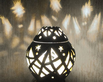 Carved Ceramic Night Light RL-3 / Handcrafted Decorative Led Lamp / Stoneware Table Vase / Home Decor Gift