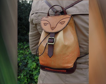 Feline leather backpack / / Feline handmade leather backpack.