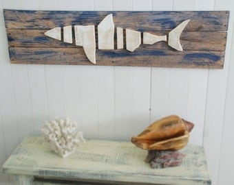 Layered Wood on Wood Shark in the ocean Wood Beach Wall Art