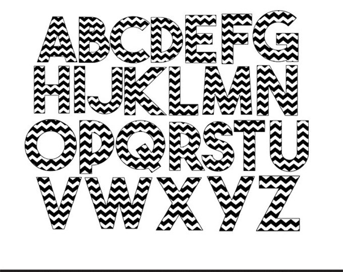 Featured listing image: chevron letters a-z pattern svg dxf file instant download silhouette cameo cricut clip art commercial use