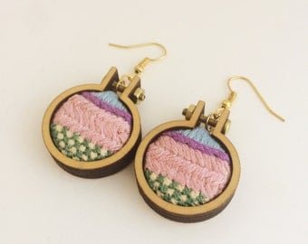 Embroidered earrings– pink, purple, blue and green – mini embroidery hoop earrings – hand embroidered jewelry – drop earrings