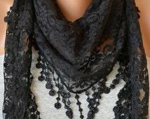 Black Lace Scarf- Lace Scarf- Lace Scarf with Lace Trim- Gift Ideas- Bandana- Headband- Summer Scarf- Spring Scarf