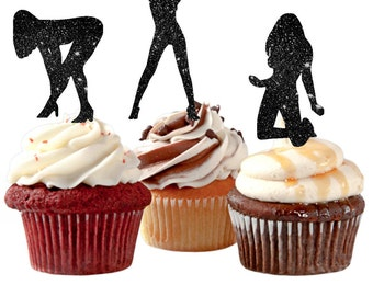 Bachelor Party Man's Birthday Sexy Girls Cupcake Toppers for the Groom Party Stripper Girl Cupcake Toppers Party Boy's Birthday