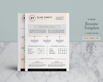 Resume Template 4page / CV Template + FREE Cover Letter for MS Word & Pages / Instant Download