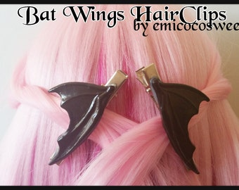 2 Dragon bat Wings Hair Clips Fairy Kei,Pastel goth kawaii halloween,Creepy cute,Pastel Goth hair clip,Fairy Fei hair clip,Kawaii Hair Clip