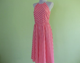 70s dress / checked pattern / size S/M / vintage / pink and white / summer dress
