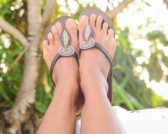 Jani Beaded Maasai leather Sandals, multicolored, leaf shape, cruelty free leather made in Kenya