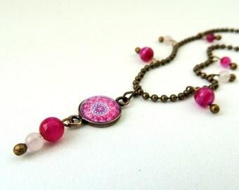 Gypsy Necklace VENUS MANDALA Pink Mandala Necklace Gypsy Soul Gypsy Jewelry Boho Necklace Boho Jewelry Mandala Jewelry Mandala Art Print