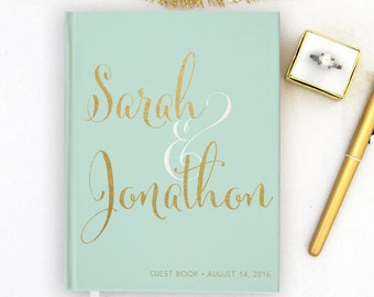 Real Gold Foil Wedding Guest Book Gold foil Guest Books Custom Guestbook Modern Wedding Script Wedding - Mint
