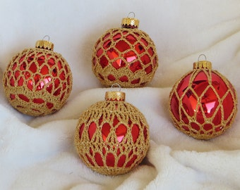 Crochet Covered Glass Christmas Ornament Balls Red Gold (Set of4)