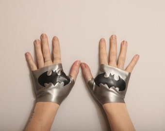 Latex Batman Gauntlets/Fingerless Gloves
