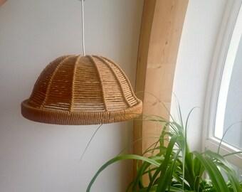 Sisal rope pendant, hanging lamp, pendant light, rustic lamp shade, 70s lampshade