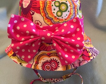 Minnie Mouse inspired child's sun hat reversible to UPF 50 fabric removable band