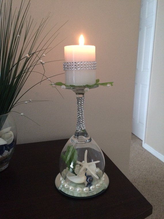 Beach wedding seashell wine glass candle holder wedding for Wine glass decorations for weddings