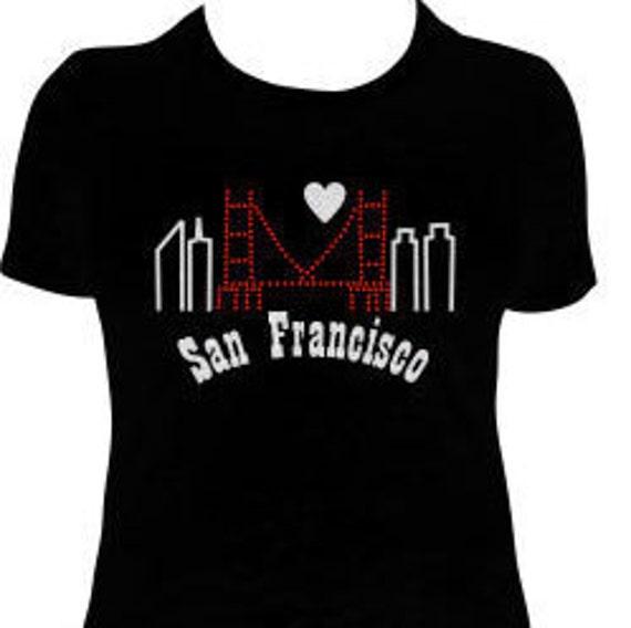 San Francisco Skyline Rhinestone And Glitter T Shirt I Left