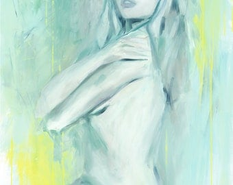 Shades of mint, print of the original oil painting, fine art print