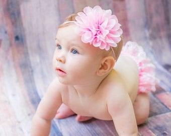 Pink Chiffon flower headband, shabby chic headband, First birthday baby headband, newborn photo prop,