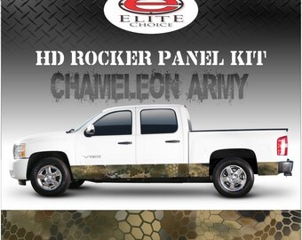 "Chameleon Hex Army Camo Rocker Panel Graphic Decal Wrap Truck SUV - 12"" x 24FT"