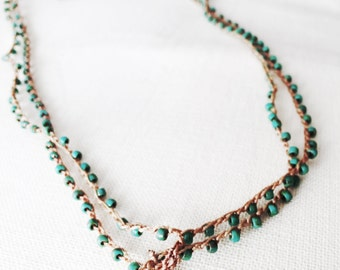 Hand woven with silver charm necklace