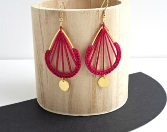 BOHEMIA special gold and Garnet Earrings / 11 colours / jewel woven in embroidery thread / chic bohemian / folk / sheep dreamer