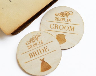 Wedding Badge in Wood | Wedding Pin | Wedding Favours | Wooden Pin for Bride, Groom, Best Man, Maid of Honour