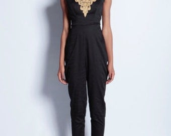 Black and Gold V-neck Jumpsuit - Size UK 10-12 (Other Sizes available)