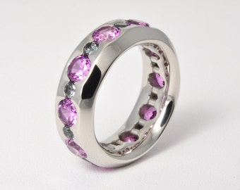 Ring • pink Sapphire & • green • complete Platinum series version