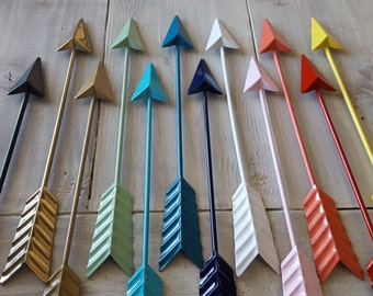 Metal Arrow / Arrow Decor / Arrow Wall Decor / Wall Art / Black Arrow, Gold Arrow, White Arrow, Coral Turquoise Red Teal Mint Yellow Gray