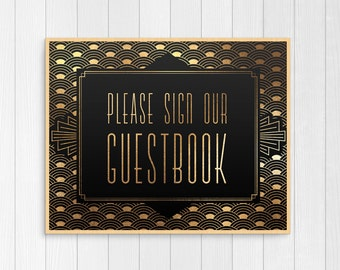 guest book sign, printable wedding guest book sign, art deco guest book sign, gatsby wedding decor, black and gold, digital