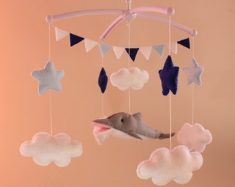 Dolphin Felt Mobile, Baby Felt Mobile,Nursery Dolphin , Kids Playroom decor Sea Dolphin