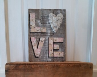 Love, flowers, mixed media, patterned paper, pallet, handcrafted flowers