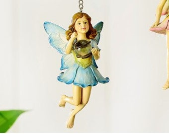 Blue Hanging Fairy with Gazing Ball